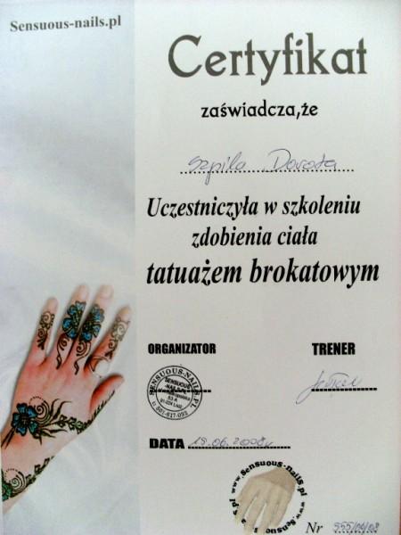 certyfikat Salon Urody Glamour Dorota Szpila